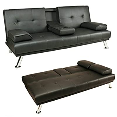 Sofa Bed Black Faux Leather Click Clack Double Settee 2 to 3 Seater Modern Couch with Cup Holder Table Two Pillows and Chrome Feet Living Room Gues Room Furniture Cheap - cheap UK light store.