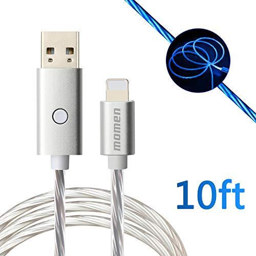 Phone Ladekabel, momen Handy Kabel 3M/10Ft Schaltersteuerung mit LED-Licht für XS/XS Max/XR/X/ 8/8 Plus/7/ Pad und mehr (10ft Kabel)