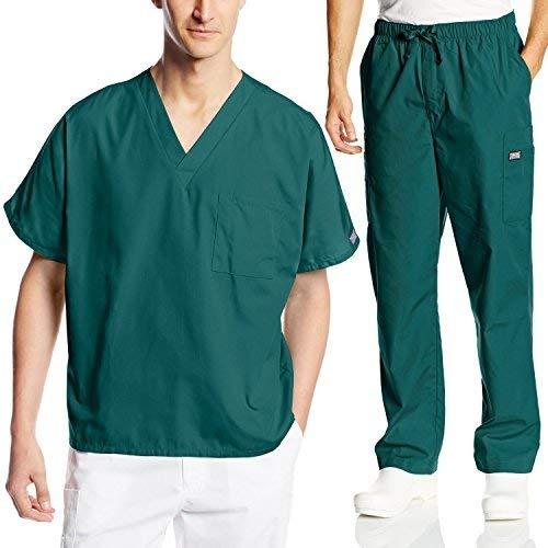 Cherokee V-neck Tunika (Cherokee Herren Arbeitskleidung Scrub Set Medizin/Zahnärzteanzug V-Ausschnitt & Cargohose - Grün - X-Groß)