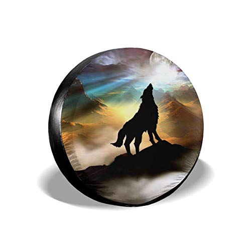 Vbnbvn Reserveradabdeckung Wolf Potable Polyester Universal Spare Wheel Tire Cover Wheel Covers for Jeep Trailer RV SUV Truck Camper Travel Trailer Accessories 14,15,16,17 Inch
