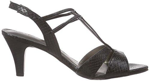 Tamaris - 28304, Scarpe col tacco con cinturino a T Donna Nero (Schwarz (BLACK STRUCT. 006))