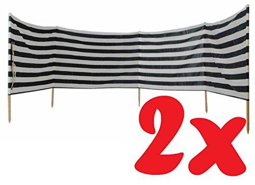 IDENA 2x Windschutz ca.800X80cm füt Strand, Camping und Garten (Farbe blau weiß | Windschutz 8m)