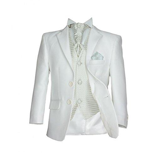 SIRRI Jungen 5 TEILE Formell Hochzeit Anzüge, Elfenbein Krawatte Abiball Seite Jungen Anzug - Creme & Creme, 170