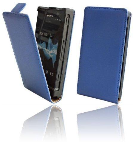 Handytasche Flip Style für Sony Xperia U (ST25i) in Blau Klapptasche Hülle @ Energmix