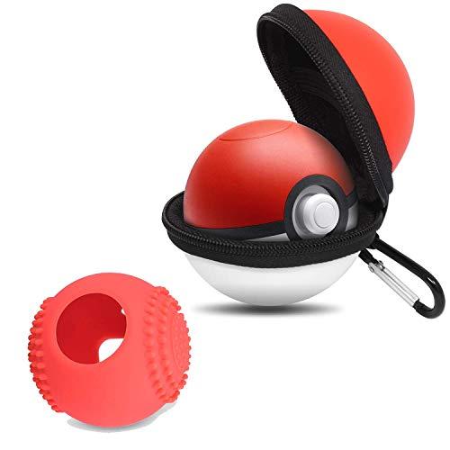 Kostüm Pokeball - BROTOU Tragetasche für Pokemon Pokeball Plus Hülle Pokeball Switch Schutzhulle Tasche Pikachu Pokéball Master Ball Super Ball Tasche Monsterbälle Sammlung(mit Schlüsselanhänger Clip) (rot und weiß)