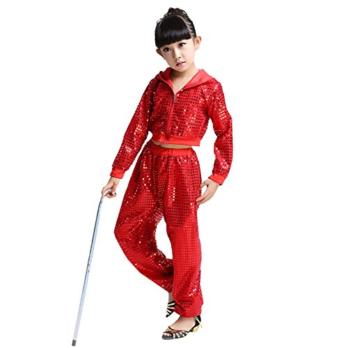 Street Kostüm Tanz - Wgwioo Kinder Hip Hop Kostüm Tanz Kleidung Mädchen Pailletten Street Set,Red,140Cm