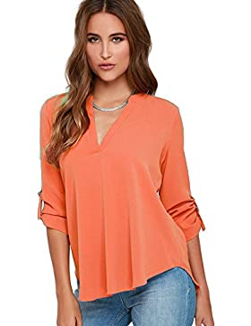 Nueva mujer cuello en V Loose Fitting gasa blusa Club wear Tops PARTY Wear Casual Wear ropa talla M UK 12UE 40