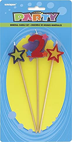 Unique Party - 34042 - Lot de 3 Bougies d'Anniversaire de Numéro 2 - Étoilées