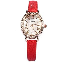 Leopard Shop kezzi Frauen Quarz Armbanduhr PU Leder Band Armbanduhr Rot
