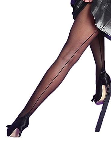 Yummy Bee - Collants Transparent Silky avec Couture Arrière et Couture Havana - Grande Taille 36 - 46 (Noir, M)