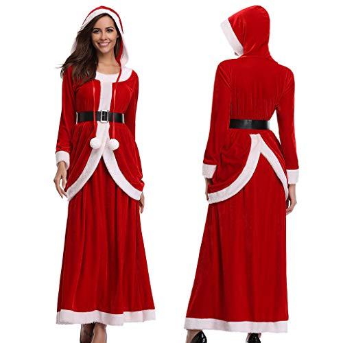 Mitlfuny Festival Weihnachten Halloween Oktoberfest Karneval Zubehör,Dress up,Dekoration,Frauen Ball Party Kleid Langarm Rock Feste Weihnachtskostüme -