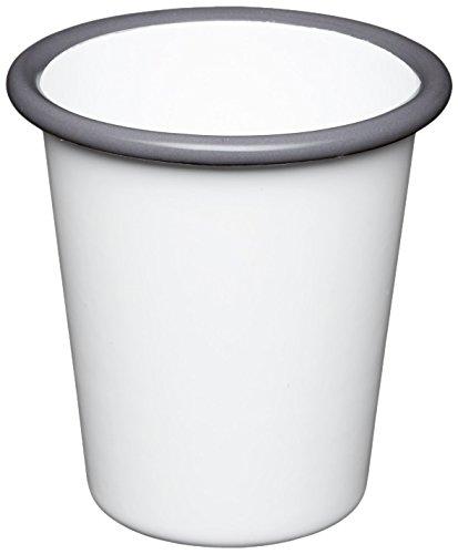 Vintage White Enamelware (KitchenCraft LNENTUMBLER Living Nostalgia Emaillierter Becher, 300 ml, weiß-grau)