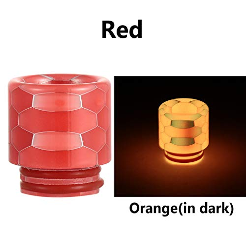 XXguang 1 Piece Resin Quick Fitting 810 Snakeskin Drip Tip Connector Honeycomb Radiator with Wide Bore TFV12/8 Mouthpiece Nozzle (Red) -