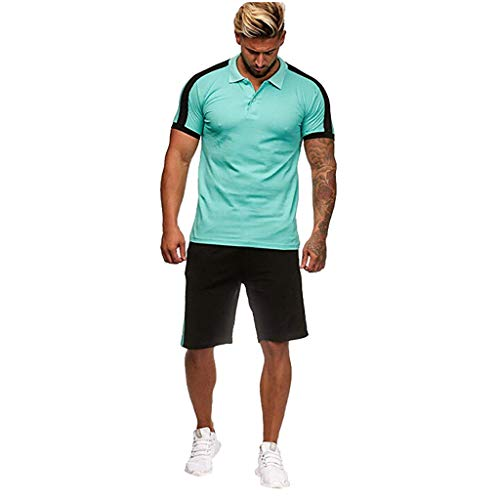 Grün-sofa-satz (Setsail Herren Freizeit Modischer Sets Streifen Farbe Kollision Kurzarm Shorts Sport dünne Sätze)