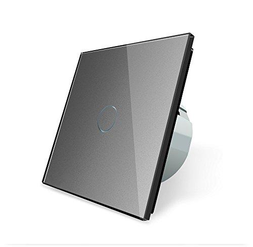 Preisvergleich Produktbild Design Glas Touch Lichtschalter 1 fach Ein/Aus grau