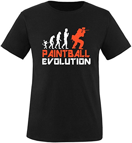 EZYshirt® Paintball Evolution Herren Rundhals T-Shirt Schwarz/Weiss/Orange