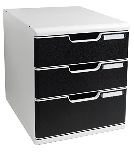 Exacompta 320014D Multiform Modulo System 2 Bürobox A4+, grau/schwarz (Tool Box 21 Schubladen)