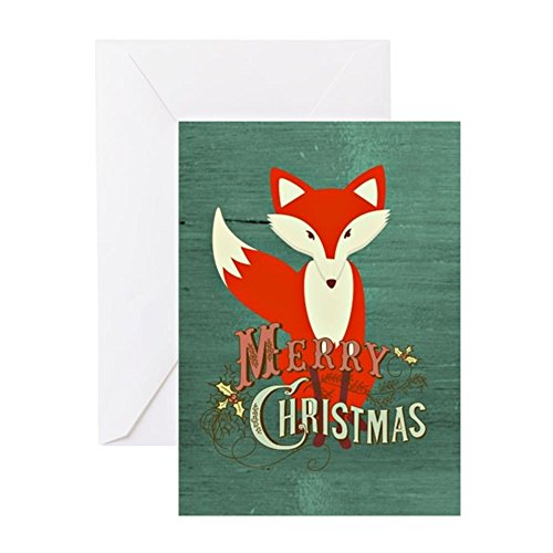 CafePress - Teal Christmas Fox - Grußkarte, Notizkarte, Geburtstagskarte, blanko Innenseite glänzend (Teal Kontakt Papier)