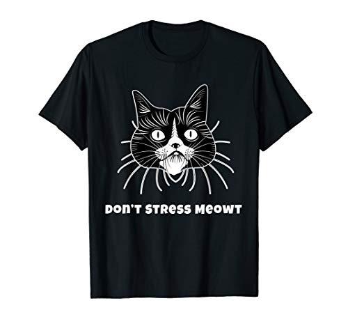 Funny Cat Shirt. Don't Stress Meowt. Colorful. T-Shirt -