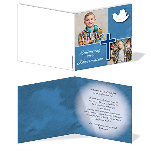 Einladung Einladungskarte Konfirmation Bilder Quadrat Blau