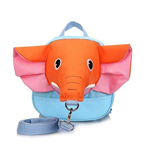Niños niño de los niños del Bolso de Hombro Lindo Elefante Diseño Mochila de Seguridad Anti-Perdida con Correa de Seguridad (Red Nose Naranja y Rosa del oído)