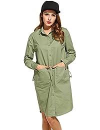 39ab98d9885b Beyove Damen Elegant Asymmetrisches Kleid Herbstkleid Hemdkleid Longshirt V-Ausschnitt  Langarm Loose Fit Casual Party