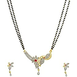 Ashvi American Diamond Gold Plated Mangalsutra Pendant with Chain and Earrings for Women ... (DGPM-4)