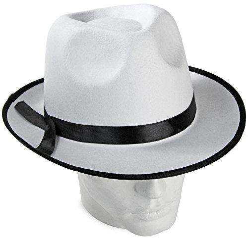 Unbekannt Seiler24 Weißer Mafia Hut aus Filz Al Capone Gangster Hut