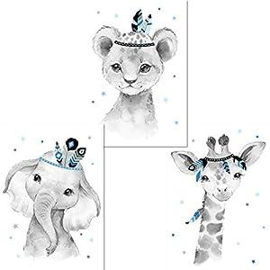 LALELU-Prints | A4 Bilder Kinderzimmer Poster | Zauberhafte Indianer-Tiere Boho Feder blau | Babyzimmer Deko Junge | 3er…