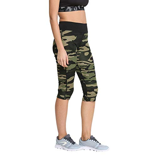 ROOLIUMS® (Brand Factory Outlet Supersoft Capri Pant Army Style, Army Joggers for Women, Army Track Lower for Sports Gym Athletic Training Workout - Green Camouflage Print - Free Size