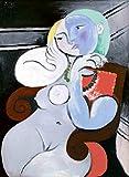 JH Lacrocon Nackte Frau in Einem Roten Sessel 1932 von Pablo Picasso - 65X90 cm Abstrakt Leinwand Gemälde Handgemalt Reproduktionen Gerollte Wandkunst für Wohnzimmer