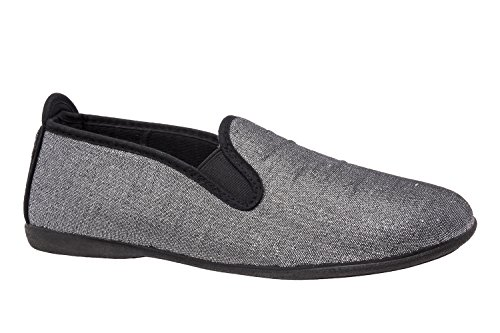 Andres Machado. AM5049.Slip-on en tissu Brillant.Pointures du 42 au 45. Argent