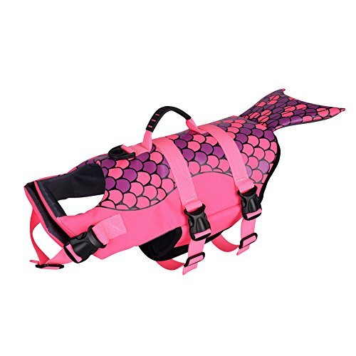 Petacc Hunde Life Jacket Hunde Warnweste Hunde-Schwimmweste Schwimmhilfe Float Coat Life Preserver, Meerjungfrau, Rosa (M)