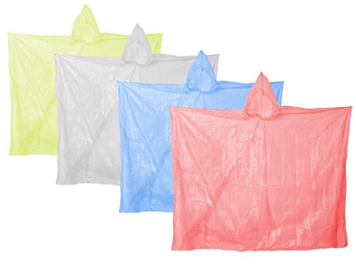 COM-FOUR® 4x poncho de pluie jetable poncho d'urgence avec capuche multicolore sélection - housse de pluie pour toutes les occasions...