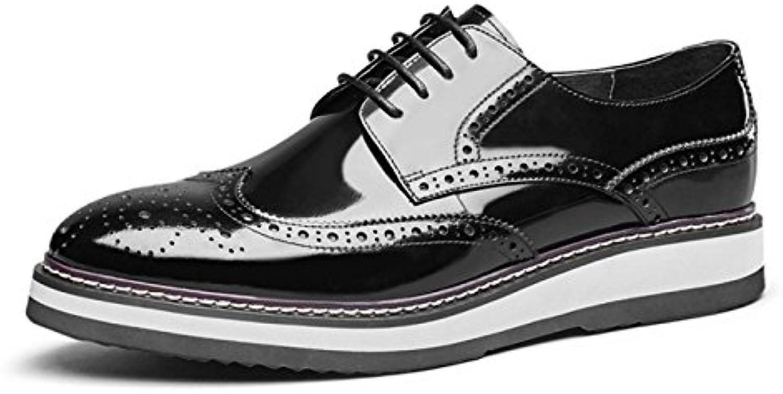 MUYII Zapatos De Cuero Oxfords Para Hombre Zapatos De Cuero Formal Brogue Con Cordones Zapatos Informales Para... -