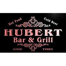 u21078-r HUBERT Family Name Bar & Grill Home Beer Food Neon Sign Enseigne Lumineuse