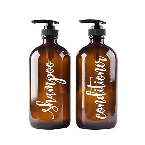 Beyyins Calcomanías para champú y acondicionador, Estilo guión con Letras de Cristal, dispensador de jabón, Etiquetas para Botellas