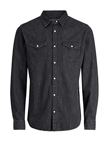 JACK & JONES Herren Jeans Hemd Jornew One Shirt Ls Noos Black Denim