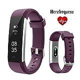 TOOBUR Fitness Armbanduhr, Schmal Wasserdicht Fitness Tracker mit Herzfrequenz Schrittzähler Schlafmonitor und Kalorienzähler