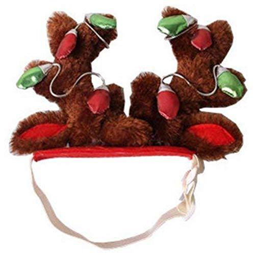 XZANTE Hund Elch Rentier Geweih Hut Muetze Hund Katze Haustier Weihnachten Outfits Kleiner Hund Kopfbedeckung Haarpflege Accessoires L (Rentier-outfit Für Hunde)
