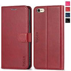 TUCCH iPhone 6s Hülle, iPhone 6 Wallet Case im Buchstil, Schutzhülle mit [Weicher TPU] [Kartenfächer] [Magnetverschluss] [Stand], Handyhülle Kompatibel für iPhone 6/6S, Rot