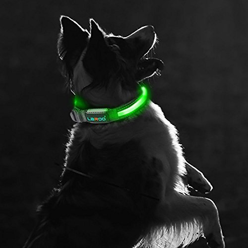 LED-Dog-Collar-LaRoo-Flashing-LED-Dog-Safety-Collar-Nylon-Luminous-Night-Dog-Band-with-USB-Rechargeable-Glow-Bright-Safety-Collar-for-Dogs-M36-51CM-142-201-Plastic-Hook