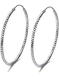 dd08ef978e5c J.SHINE mujer pendientes Plata De Ley Pendiente Anillo de orejas De Aros  Cuadrado brillantes