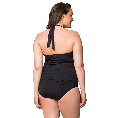 DaBagDamen Sommer Groß Größe Badeanzug Einfarbig Strap Strand Schwimmen Anzug Slip Ärmellosen Split Halter Badeanzug Schwarz
