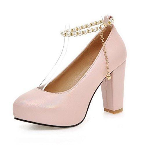 VogueZone009 Damen Rund Zehe Hoher Absatz Weiches Material Rein Schnalle Pumps Schuhe Pink