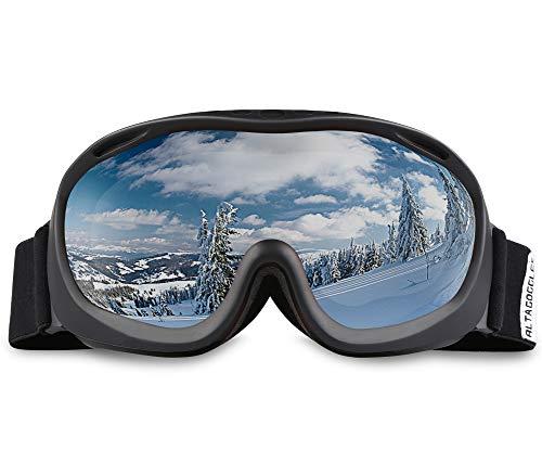ALKAI Ski Sonnenbrille Schwarzer Rahmen Grau Silber Linse