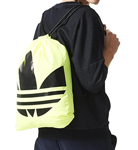 adidas Sportbeutel Trefoil Gymsack, Solar Yellow/Black, 37 x 47 x 5 cm, 16 Liter, AJ8989