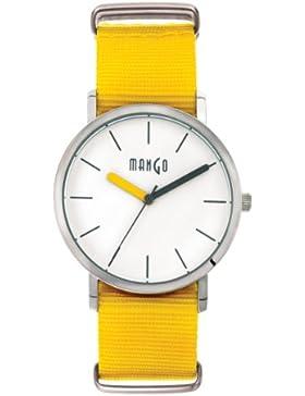Mango Time Damen - Armbanduhr Oxford Analog Quarz Nylon Gelb A68376-8S0I