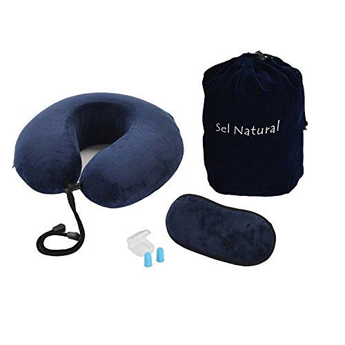Preisvergleich Produktbild Sel Natual Reise Nackenkissen – aus weichem, bequemen Memory Schaum Stoff , beinhaltet Schlafmasken trage Tasche und Ohrstöpsel, beste für Flüge und Reise ( blau )