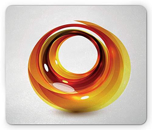 Abstract Mouse Pad, Orange Swirl with Ombre Design Elements Vivid Ball Curvy Figure, Standard Size Rectangle Non-Slip Rubber Mousepad, Orange Dark Orange Yellow